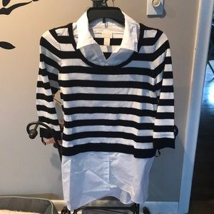 Chicos stripped collared black and white shirt